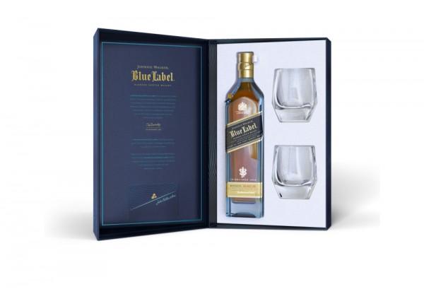Johnnie Walker Blue Label Whisky Geschenkpackung mit 2 Gläsern